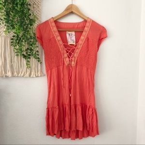 FREE PEOPLE Embroidered Boho Lace Up Tunic Coverup